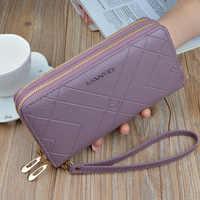 Clutch Phone Purses Women Double Zipper Wallet Big Female Purse Leather Brand Retro Ladies Long Woman Wallets Card Holder LSH514