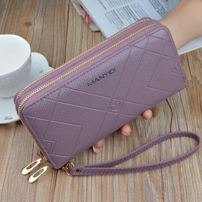 Clutch Phone Wallet Women Double Zipper Purse Female Pu Leather Striped Brand Retro Woman's Long Wallets Sac A Main Femme LSH514