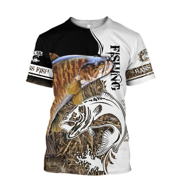 Salmon black and white Fishing T Shirt All Over Print