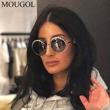 MOUGOL 2019 Trendy Women Sunglasses Luxury Pearl Vintage Brand Designer Round Sun Glasses UV400 Zonnebril Dames