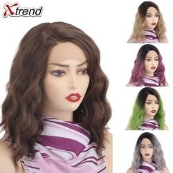 Xtrend-perruque Bob Lace Front Wig synthétique ondulée courte pour femmes, perruque de Cosplay pour femmes, verte, violette, grise, Ombre