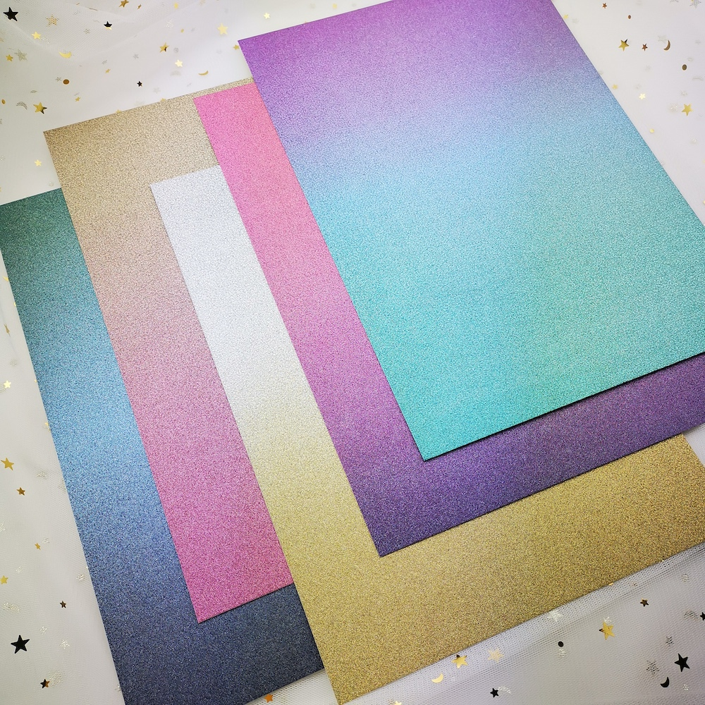 KSCRAFT A4 Mixed Colors Ombre Glitter Premium Card Pack 220GSM 5Sheets