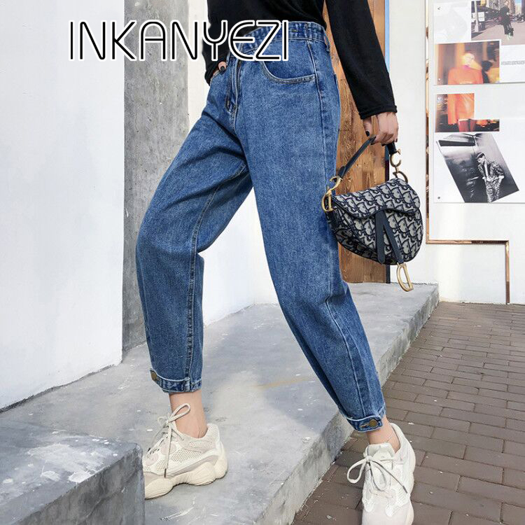 new Vintage ladies boyfriend jeans for women mom high waisted jeans blue casual pencil trousers korean streetwear denim pants 85