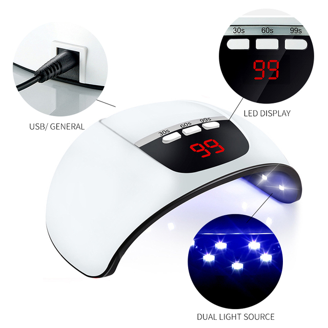 6W/24W/30W/36W Pink UV Nail Lamp UV LED For Nail Dryer Drying USB Cable Ice Lamp Fast Dryer Nail Gel Curing Machine