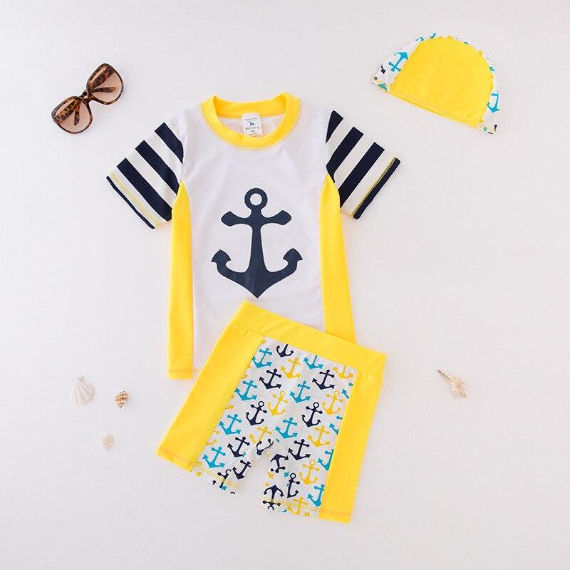 KID'S Swimwear Boy Split Swimsuit Boat Anchor Striped Sleeve Sailor Suit Beachwear Spa Resort Tour Bathing Suit