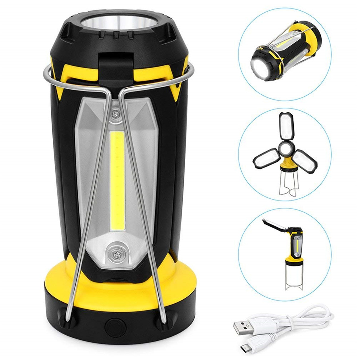 COB Portable LED Camping Light USB Rechargeable Ultra Bright Lightweight Camping Lanterns Waterproof Searchlight Emergency Lamp