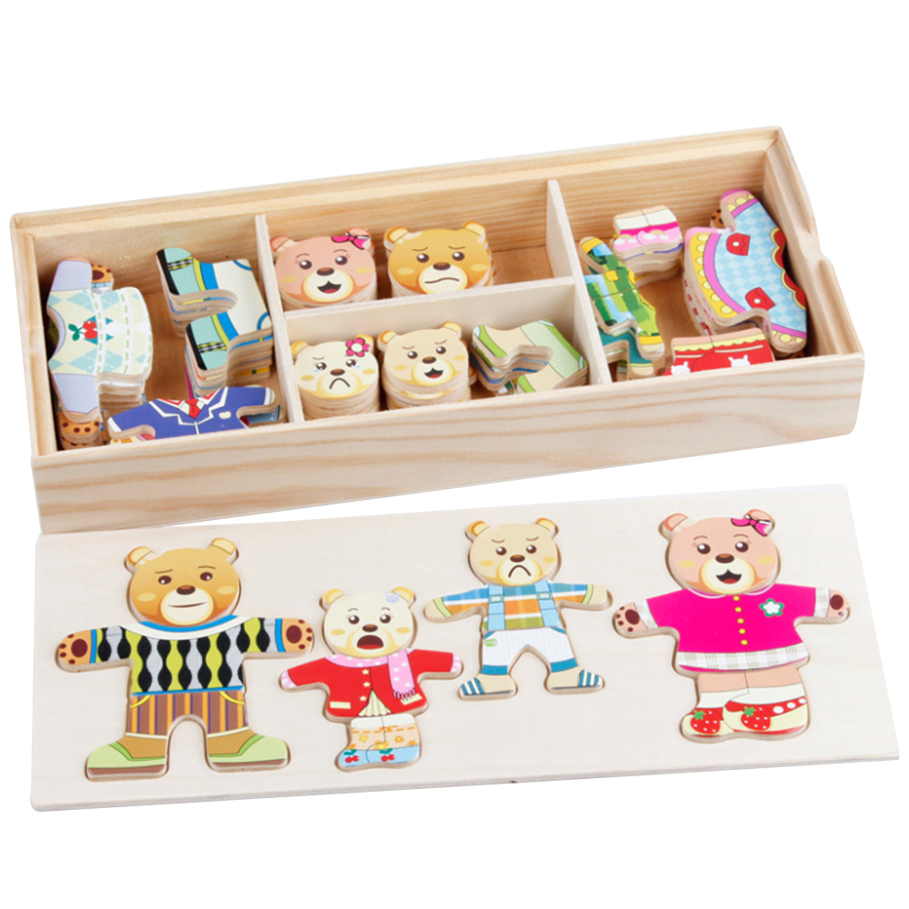 Wooden Bear Changing Clothes Puzzle Children Kids Educational Xmas Toy Gift