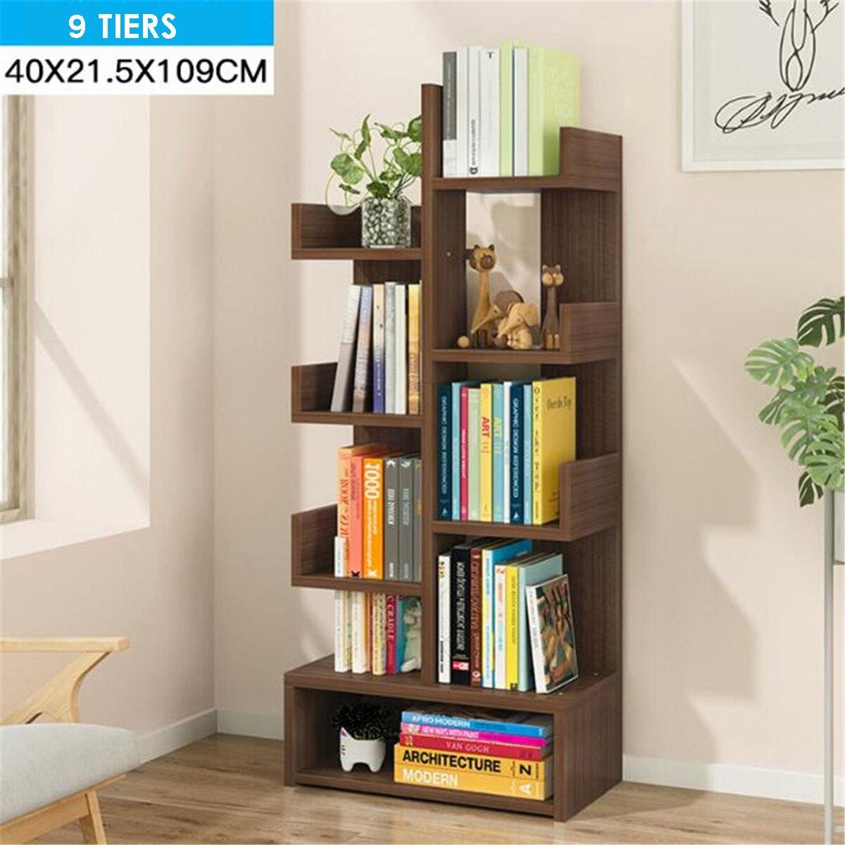 Estantería de libros de varias rejillas, estante de exhibición, muebles, decoración de estudio, estantería de madera en forma de árbol