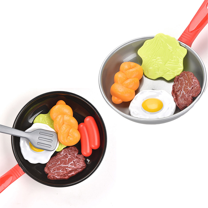 7PCS Children Pretend Play Kitchen Toy Set Miniature Kitchen Simulation Food Cookware Pot Pan Cooking Play House Toy For Girls