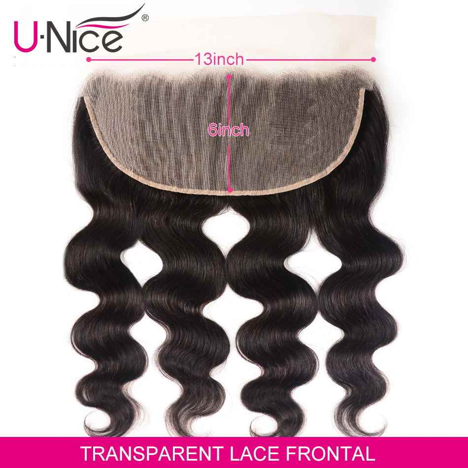Unice Hair 13*6 Transparent Lace Frontal Body Wave 8-18 Inch Ear To Ear Free Part Pre Plucked Brazilian Human Hair Remy Hair