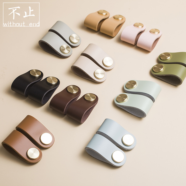 Hot 10Colors Leather  Brass Knob  Simple Cabinet  Pens Nordic Drawer Pulls Bathroom  Hardware  Furniture  and Kitchen  Handles