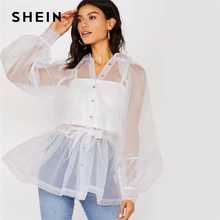 SHEIN Solid Self Belted Peplum Organza Glamorous Shirt Without Cami Wom