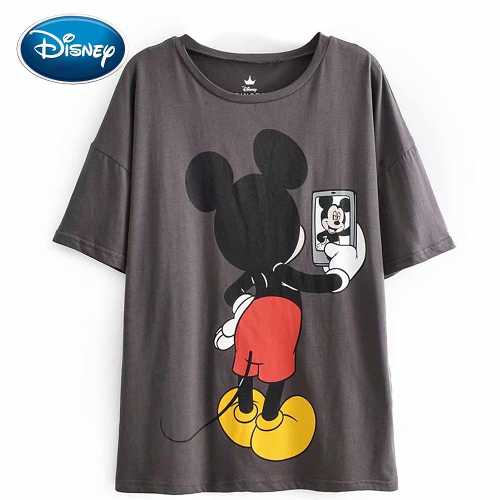 Disney Fashion Cute Mickey Mouse Cartoon Photograph Print Casual Sweet Women T-Shirt O-Neck Pullover Short Sleeve Loose Tee Tops