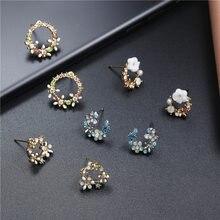 Luokey 2020 brincos de cristal coreano para as meninas moda esmalte bonito flor do parafuso prisioneiro brincos feminino jóias presentes boucle doreille femme