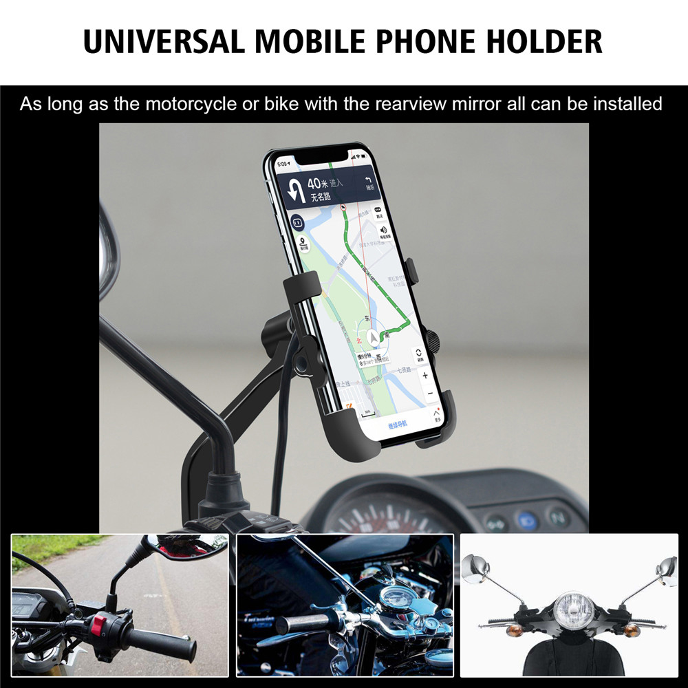 Motorcycle Handlebar Bike Mobile Cell Phone Mount Holder with USB Charger Bicycle Aluminum alloy Phone Stand For Smartphone GPS|Motorcycle Electronics Accessories| |  - title=