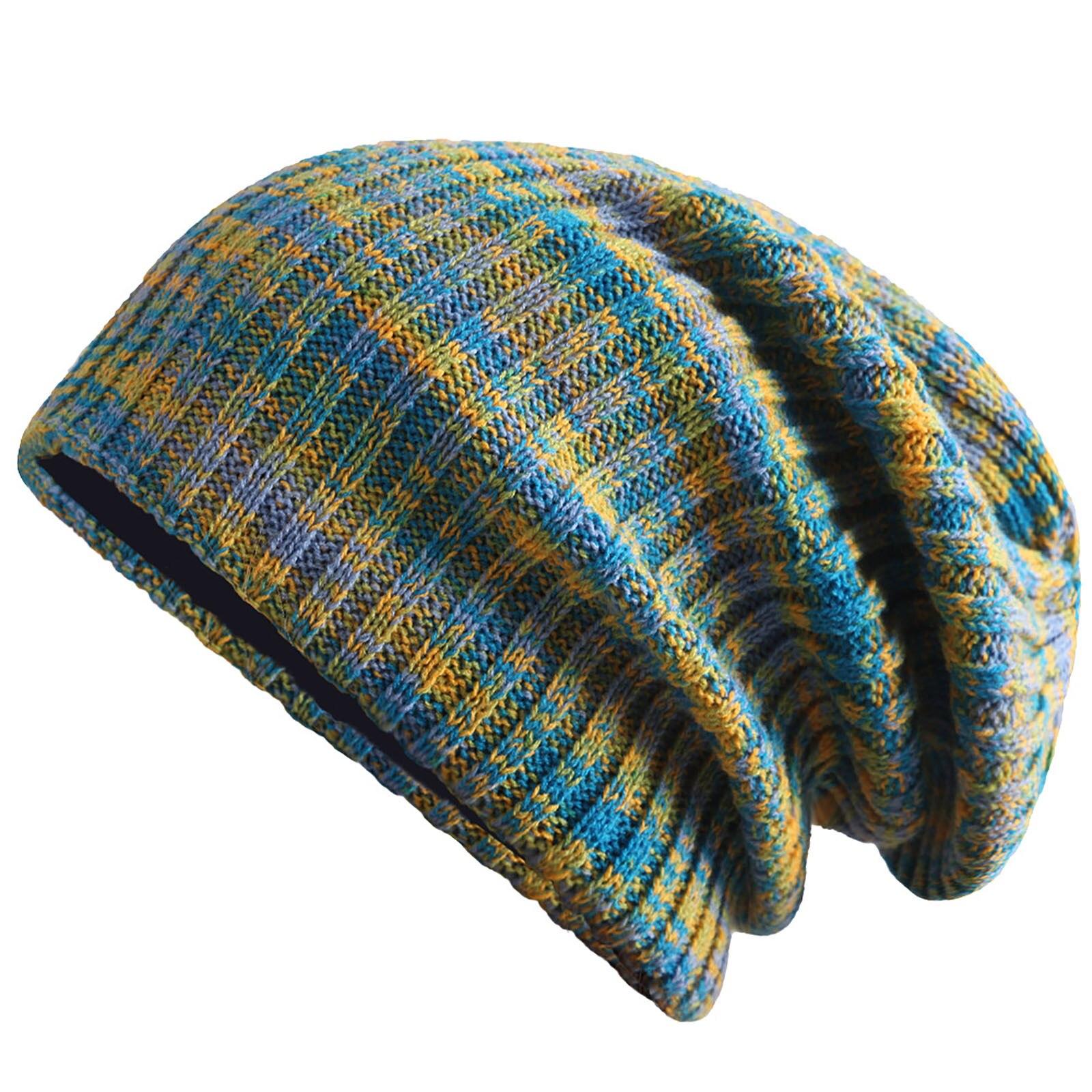 ユニセックスファッション暖かい冬のカジュアルニット帽子ミックスカラーすべてマッチ厚みの帽子冬暖かいストレッチニットビーニー帽子防風キャップ