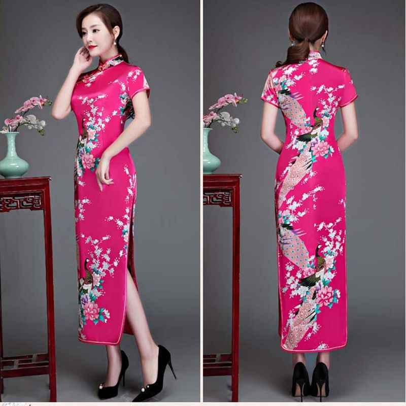Nuevo cheongsam qipao de seda artificial para mujer, cheongsam largo sexy para mujer, vestido de banquete chino de talla grande 6XL