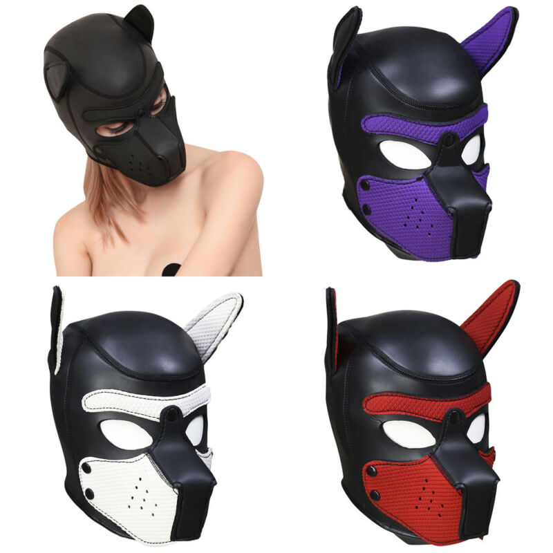Party Masks Pup Puppy Play Dog Hood Mask Padded Latex Rubber Role Play Cosplay Full Head+Ears <font><b>Halloween</b></font> Mask <font><b>Sex</b></font> <font><b>Toy</b></font> For Couples image