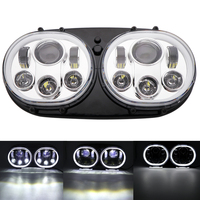 5.75 inch dual LED projector headlight angel eyes white halo for motorcycle Road Glide 2004 2013 H4 headlights.