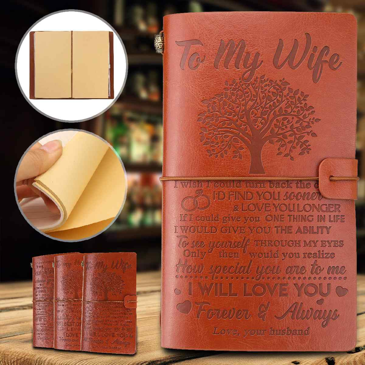 21 Types Engraved Leather Journal Notebo Diary To Daughter/Son/My Man/Wife/Mom/Dad/Grandson Engraved Notebo Diary 20x12cm