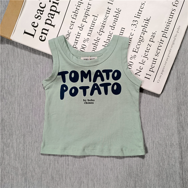 Summer new kids boys and girls Cactus,whale,monogrammed stripes cotton vest sleeveless tee 2