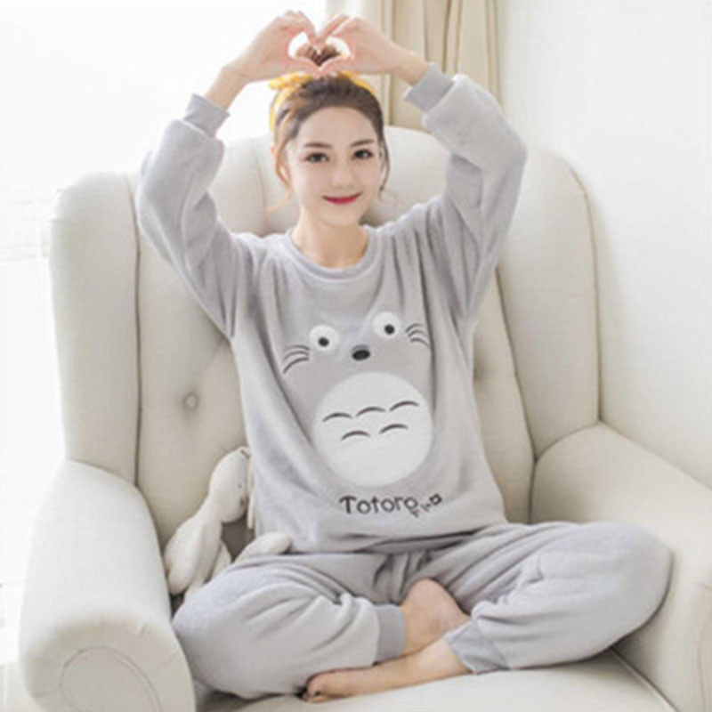 Special Price Autumn Winter Warm Women Pyjamas Sets Thick Coral Velvet Long Sleeve Cartoon Sleepwear Thin Flannel Pajamas Set 28
