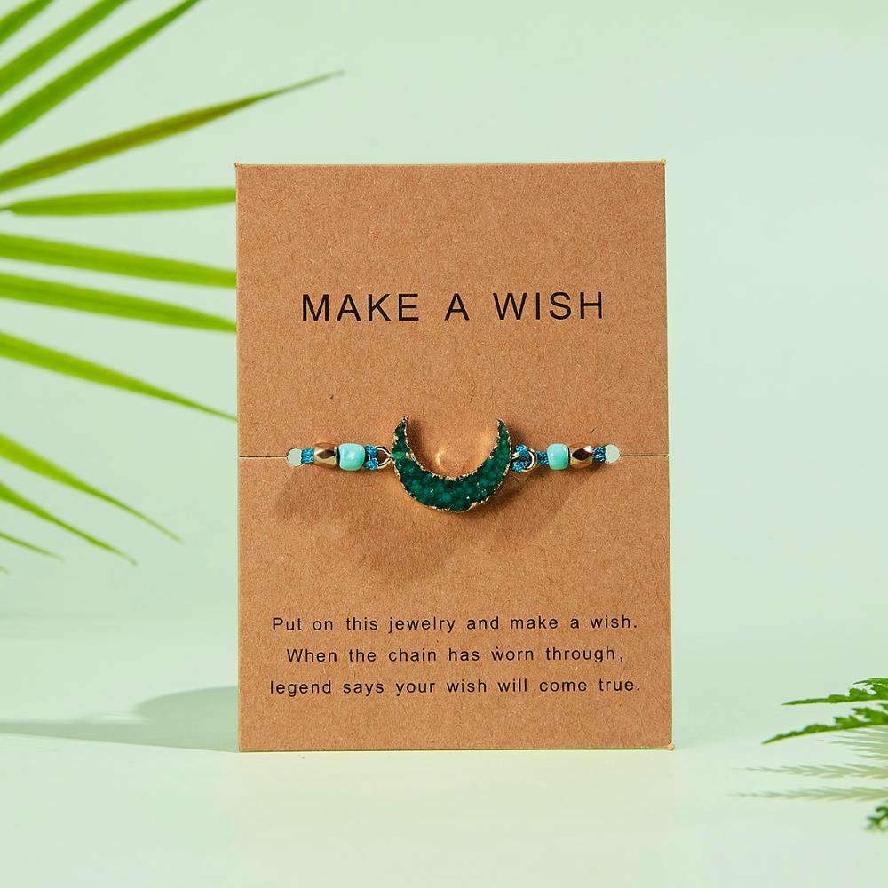 Натуральный камень Новая 7 цветная подвеска тканый браслет с картой Загадай желание регулируемый браслет из веревки для женщин очаровательные подарочные украшения - Окраска металла: 10