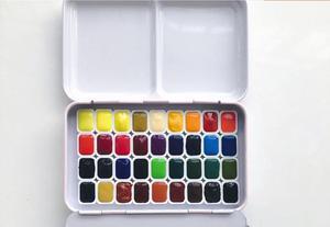 Image 2 - 36 цветов, сплошная Акварельная краска для торта, пигмент для художника, студенческое Искусство Набор для рисования, совместимый с schmincke, загрузка 1 мл