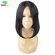 Lace Front Wigs Short Human Hair Bob Middle Part Remy Brazilian Natural Black Straight Cheap With Free Ship