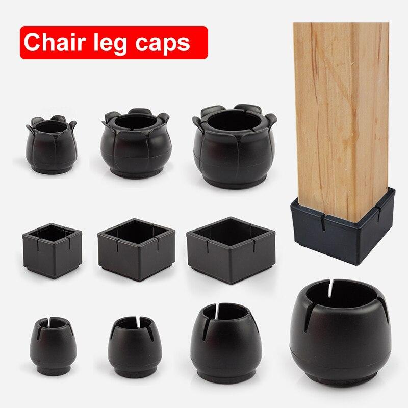 8/16 pces retangular cadeira perna tampões cadeira perna protetor cobre móveis mesa perna tampas círculo inferior redondo para quadrado redondo