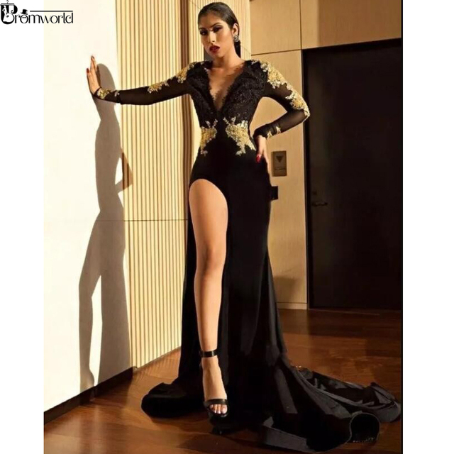 Long Sleeves Mermaid Prom Dress Appliques Lace Party Gown Sexy Backless V-Neck High Slit Black Prom Dresses 2019 5