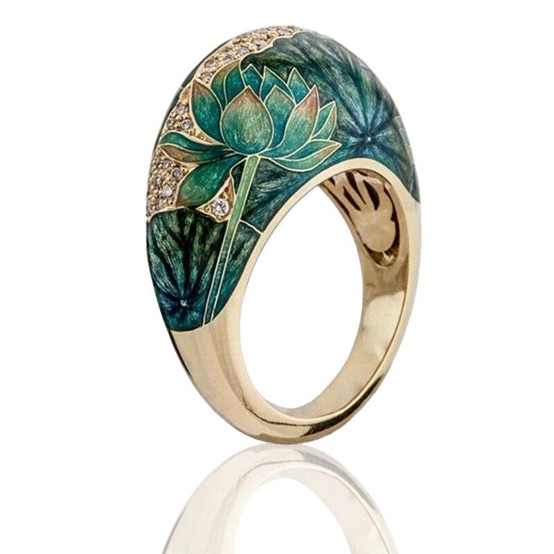 Milangirl exquise fleur Lotus émail deux tons en anneaux pour les femmes romantique Zircon mariée mariage bague de fiançailles