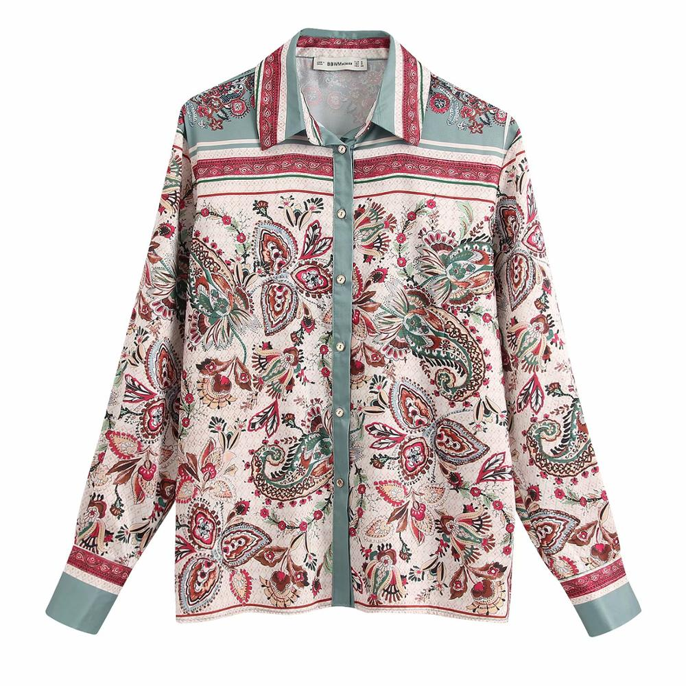 2020 Women Vintage Color Match Totem Flower Print Casual Smock Blouse Office Lady Wear Shirts Chic Chemise Femininas Tops LS6365