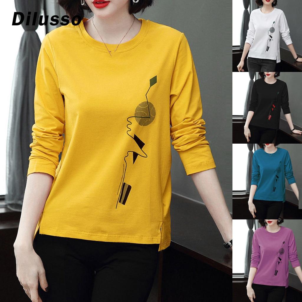 2020 модная женская Повседневная рубашка с длинным рукавом, топы, женская футболка с принтом и круглым вырезом, топы, пуловер, женские топы, ру...