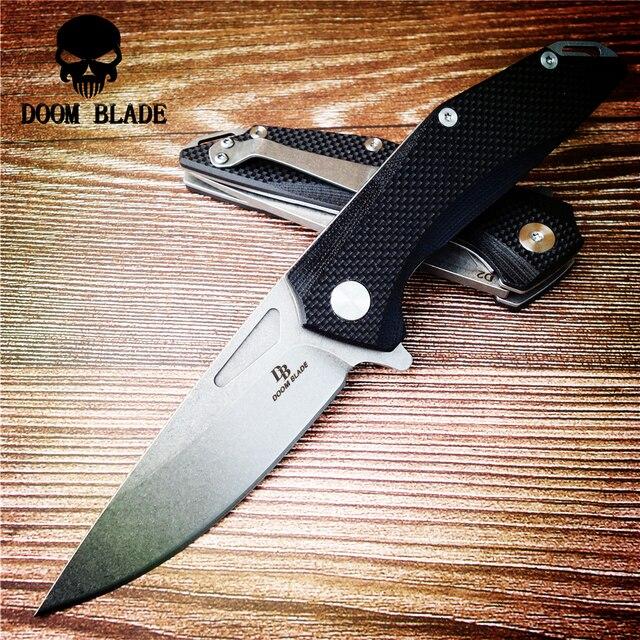 200mm 100% d2 lâmina, bola faca dobrável, 60hrc, faca de caça com punho g10, sobrevivência ao ar livre tático edc ferramenta