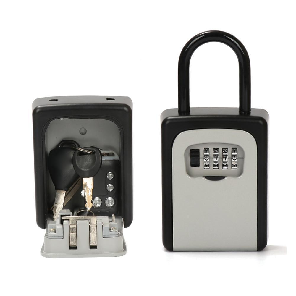 Key Safe Padlock Anti-thief Key Storage Lock Box Outdoor Holder Box Hider Mounted Combination 4-Digit Key Key Password Safe S9Q9