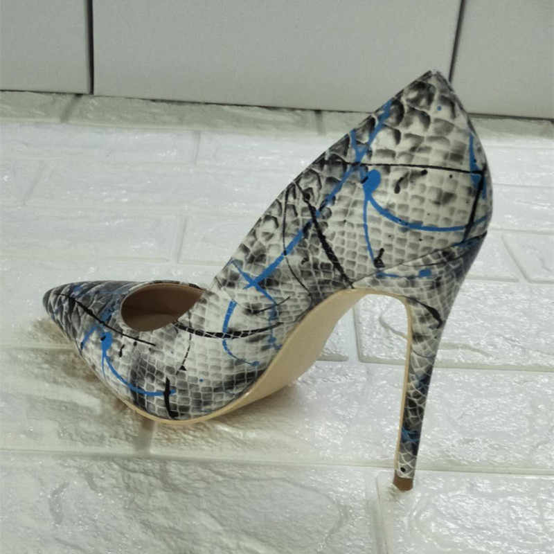 Marée talons hauts pompes femmes Graffiti chaussures femmes sans lacet Sexy Sapato Feminino bout pointu dames chaussures Zapatos De Mujer grande taille