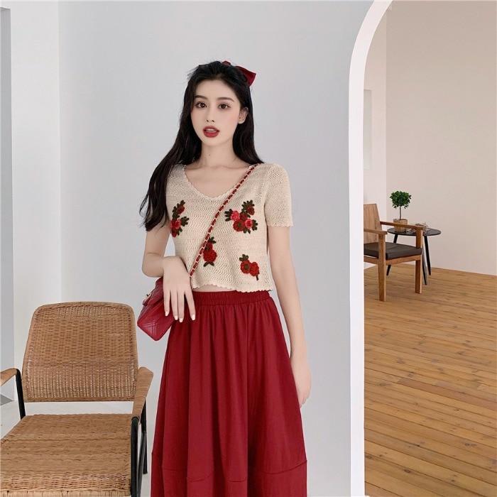 Fox Mrs. Korean Style High-waisted Mid-length Skirt Women's Versatile Slimming Loose-Fit Skirt Embroidered Knitted Short Sleeve