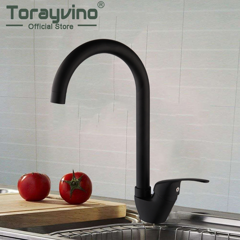 kitchen faucets Matte Black brass Rotate faucet rubinetto cucina Deck Mount Taps hot & cold Mixer Good Quality faucet kitchen