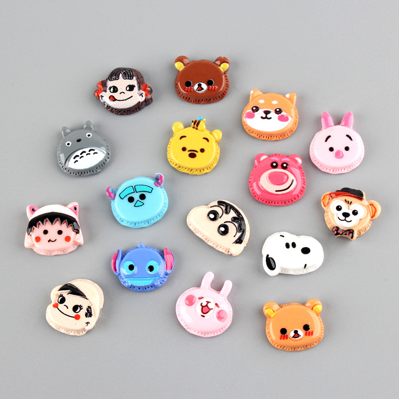10Pcs Flat Back Resin Cabochon Kawaii Cartoon Resins Of Characters Decoration Crafts DIY Kids Hair Bows Accessories Scrapbooking