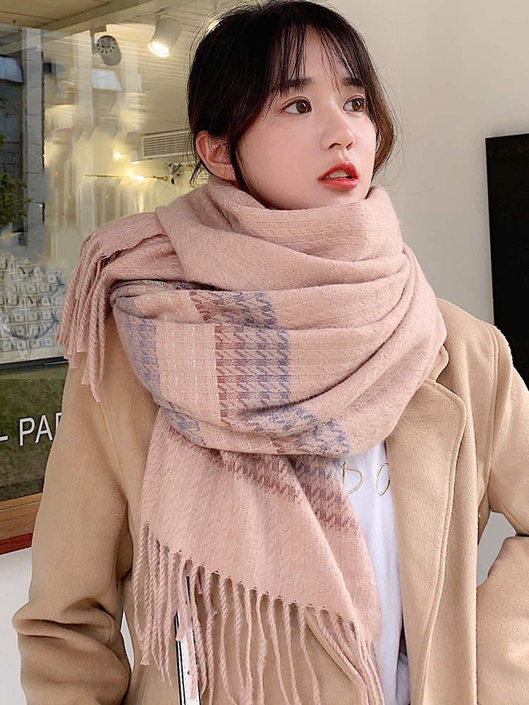 Brand Soft Girl Scarf Female Sweet Lovely Japanese Shawl Thickened Warm Knitting Thick Thread Student Bib Female Autumn Winter