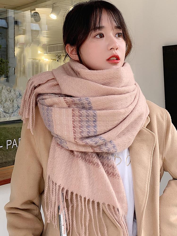 Brand Soft Girl Scarf Female Sweet Lovely Japanese Shawl Thickened Warm Knitting Thick Thread Student Bib Female Autumn Winter