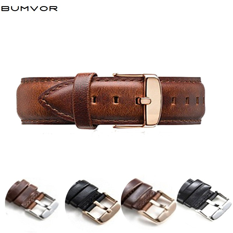 Leather Band Straps Men Women Wrist Watch 18mm 20mm Watchband Stainless Steel Buckle Clasp Leather Silver Gold Black Brown