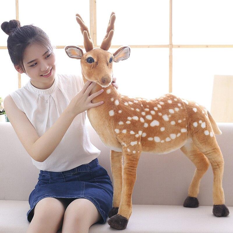 50/60/75cm Giant Stuffed Plush Animal Reindeer Toy Kid Doll Kawaii Deer Simulation Sika Deer Plush Birthday Room Decoration Gift
