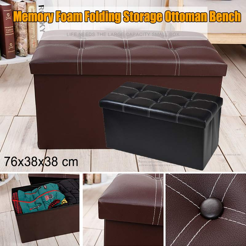 Memory Foam Folding Storage Ottoman Bench Faux Leather Cushion Sofa Fitting Room Stool Bedroom Furniture Footstool Cabinet