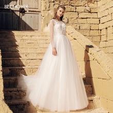 BECHOYER Boho Appliques Wedding Dress 2020 Boho Long Sleeve A Line Lace up Train Illusion H Quality Bride Vestido de Noiva AB39
