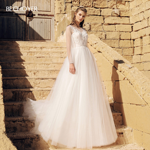 Image 1 - BECHOYER Boho suknia ślubna z aplikacjami 2020 Boho z długim rękawem line Lace up Train Illusion h quality Bride Vestido de Noiva AB39