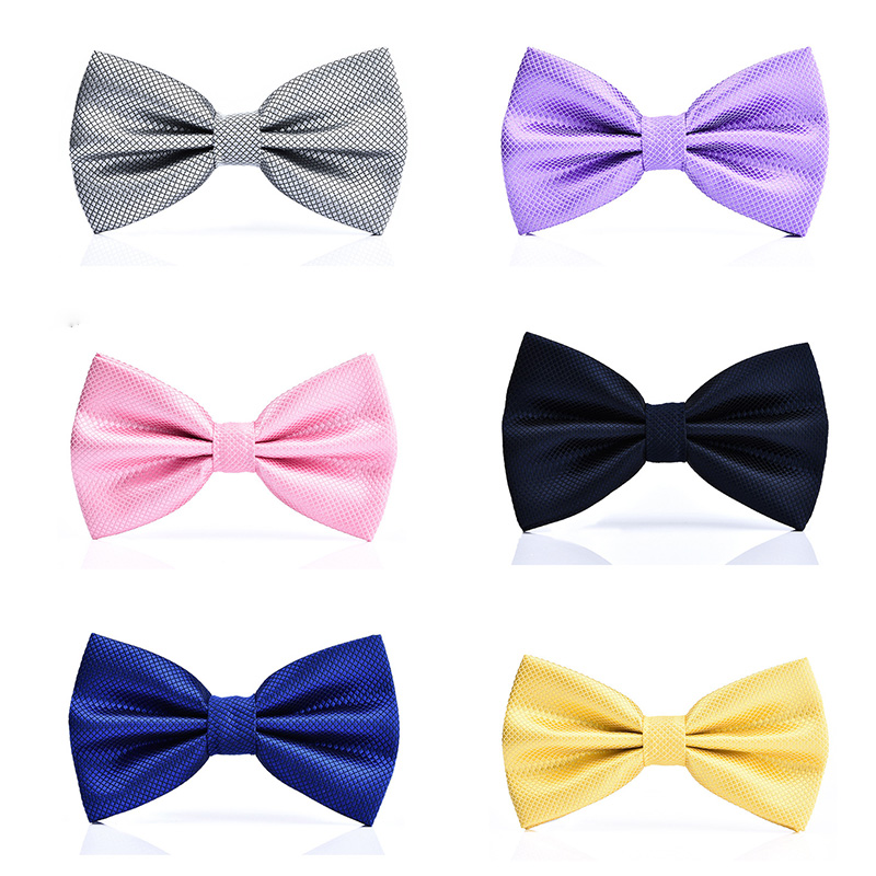 New Bow Tie Male Formal Wedding Korean Version Double Groom Wedding Men Women Solid Color Hidden Lattice Bow Tie