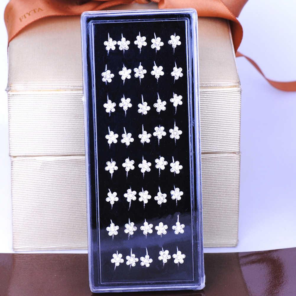 1 Pcs Kecil Tipis Kristal Berlian Imitasi Bunga Palsu Septum Piercing Cincin Hidung dan Kancing Imitasi Klip Hidung Ring Perhiasan Tubuh