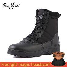 Botas militares tácticas de desierto para hombre, Zapatos de seguridad para el trabajo, botas de combate con cordones al tobillo